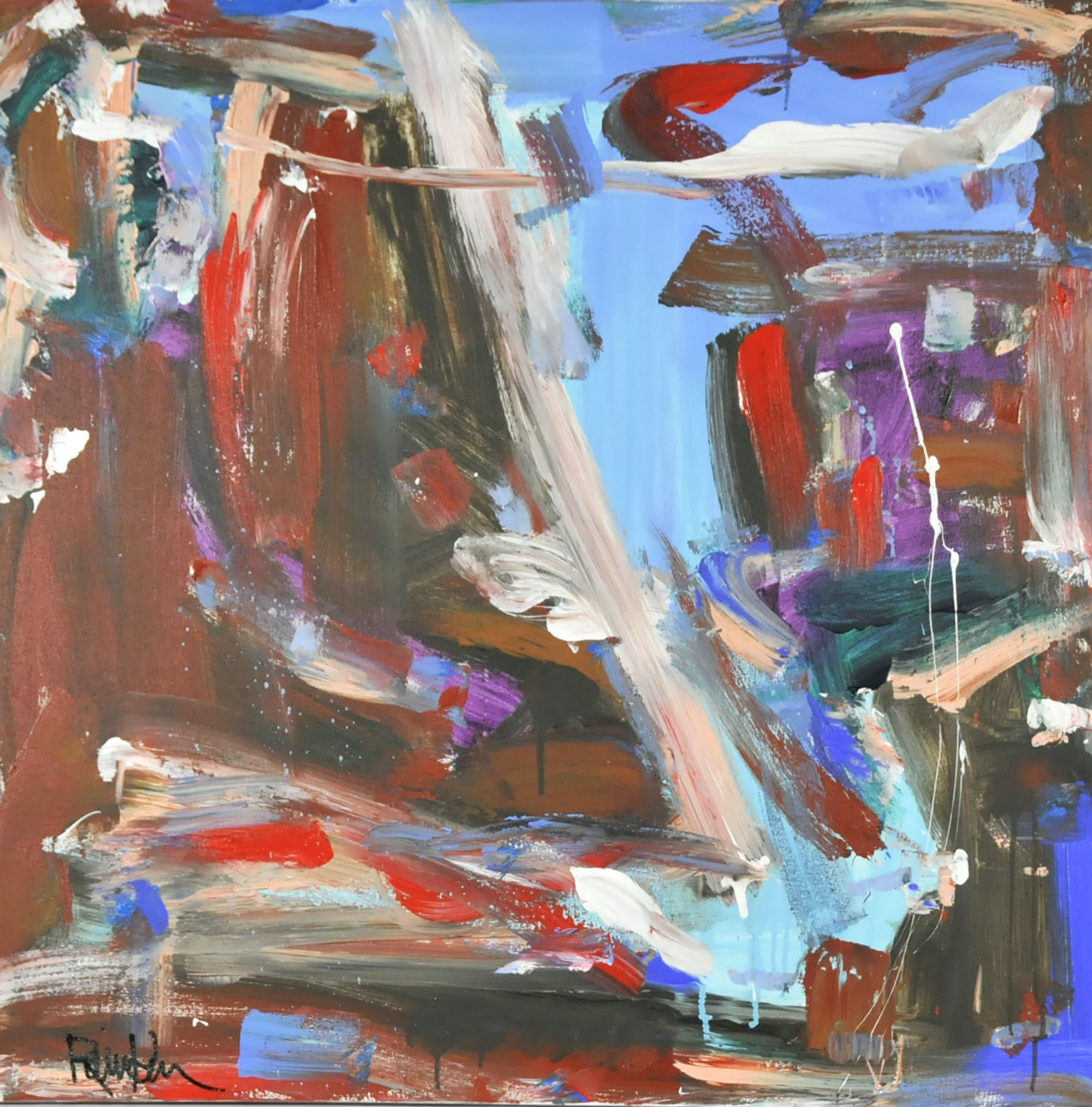 "Robbie Kemper Original Acrylic on Canvas ""Red Oxide Lite Blue"""