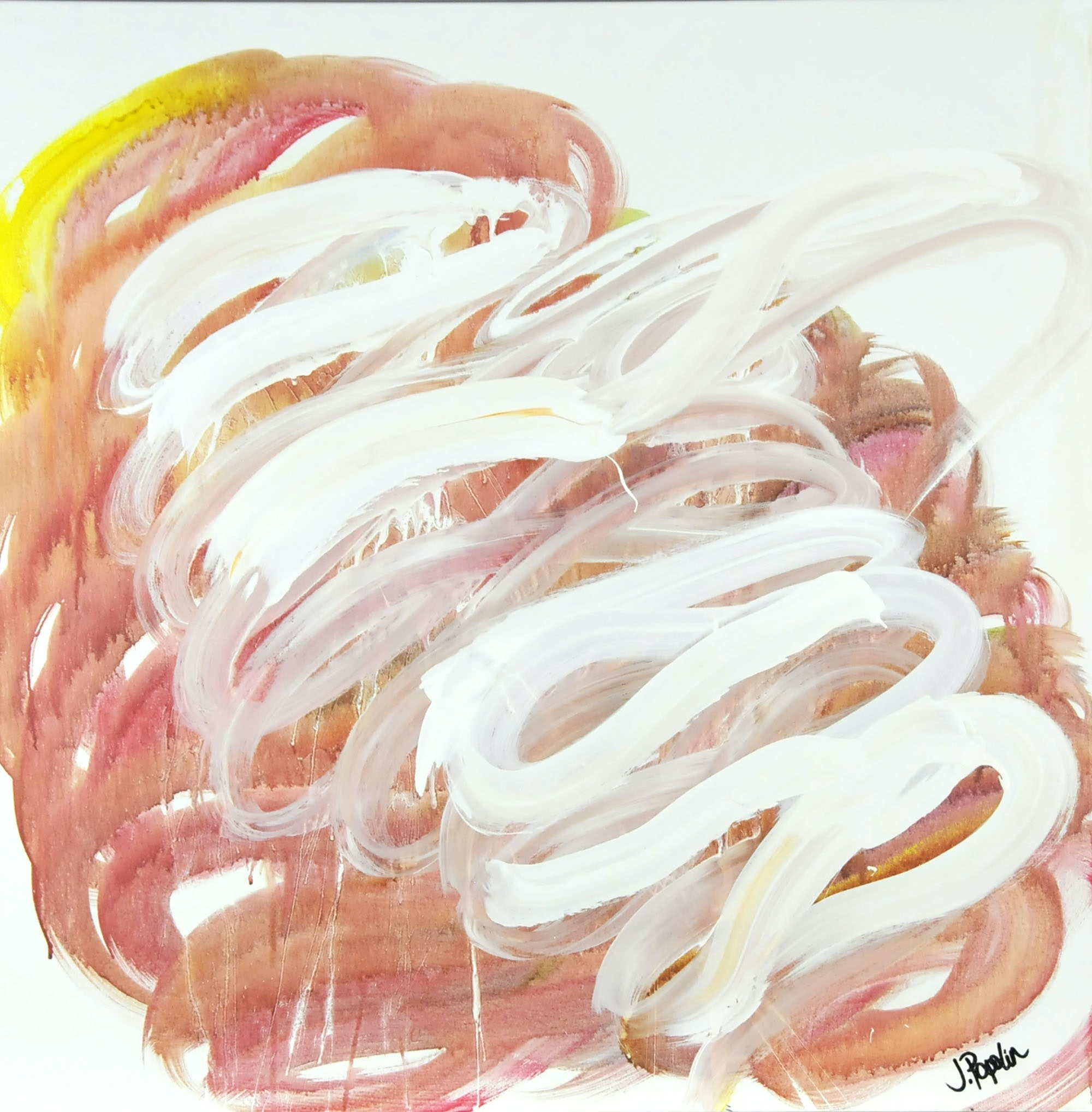 "J. Popolin Original Acrylic on Canvas ""Orange Yellow with White Swirls"""