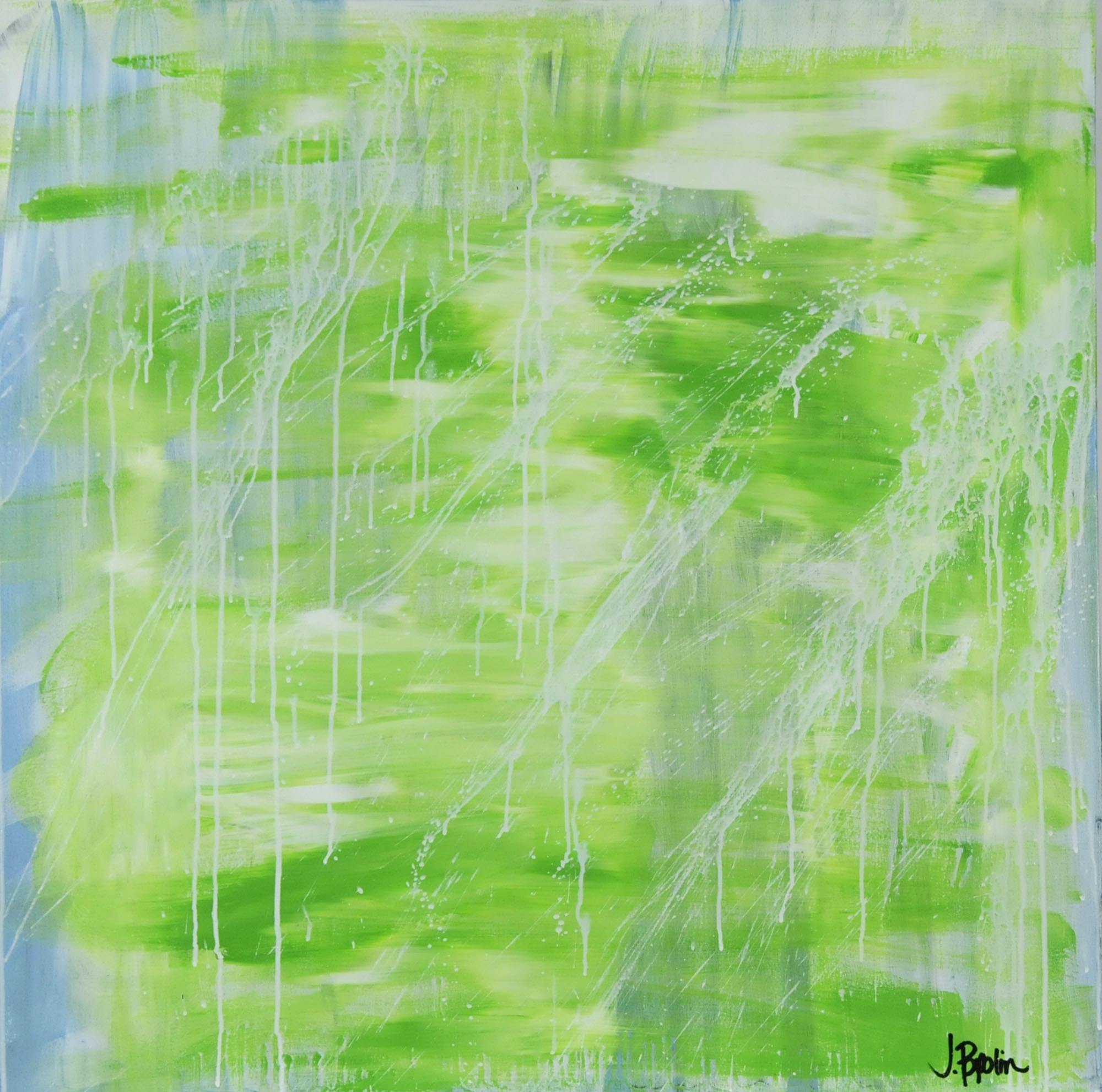 "J. Popolin Original Acrylic on Canvas ""Green Light Blue White Splats"""