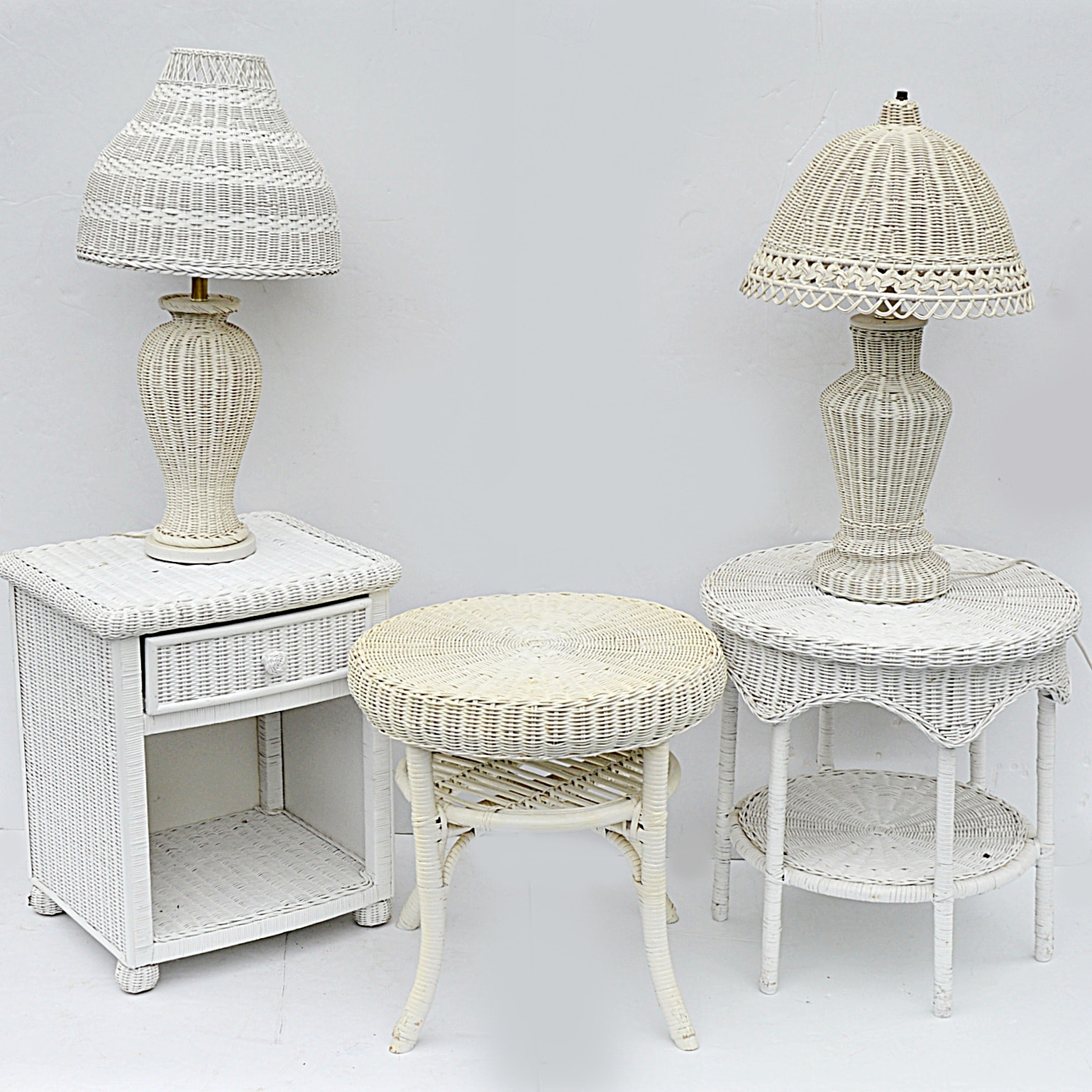 Three White Wicker Side Tables and Two Wicker Table Lamps