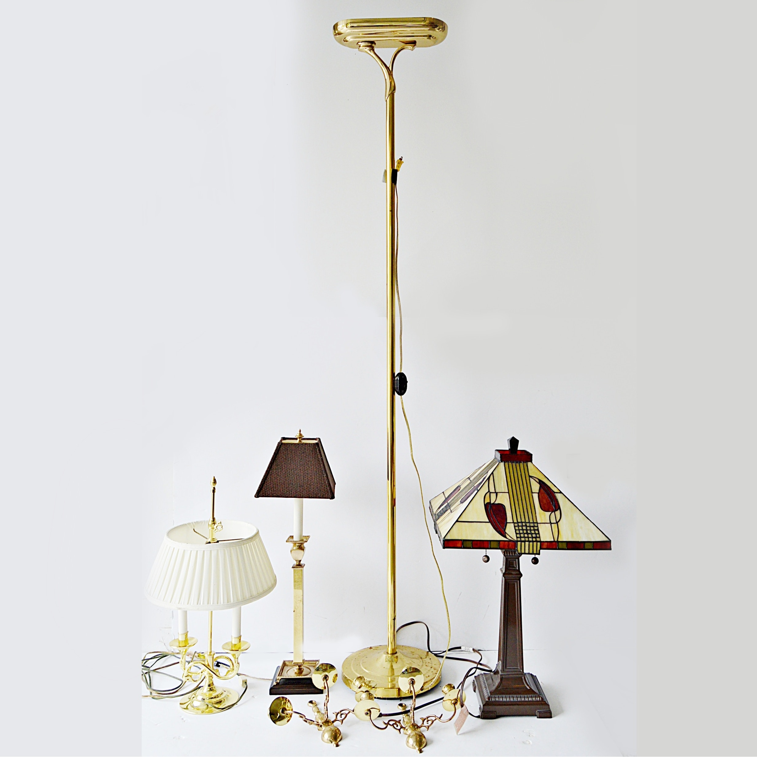 Three Table Lamps with Baldwin, Brass Floor Lamp and Wall Sconces