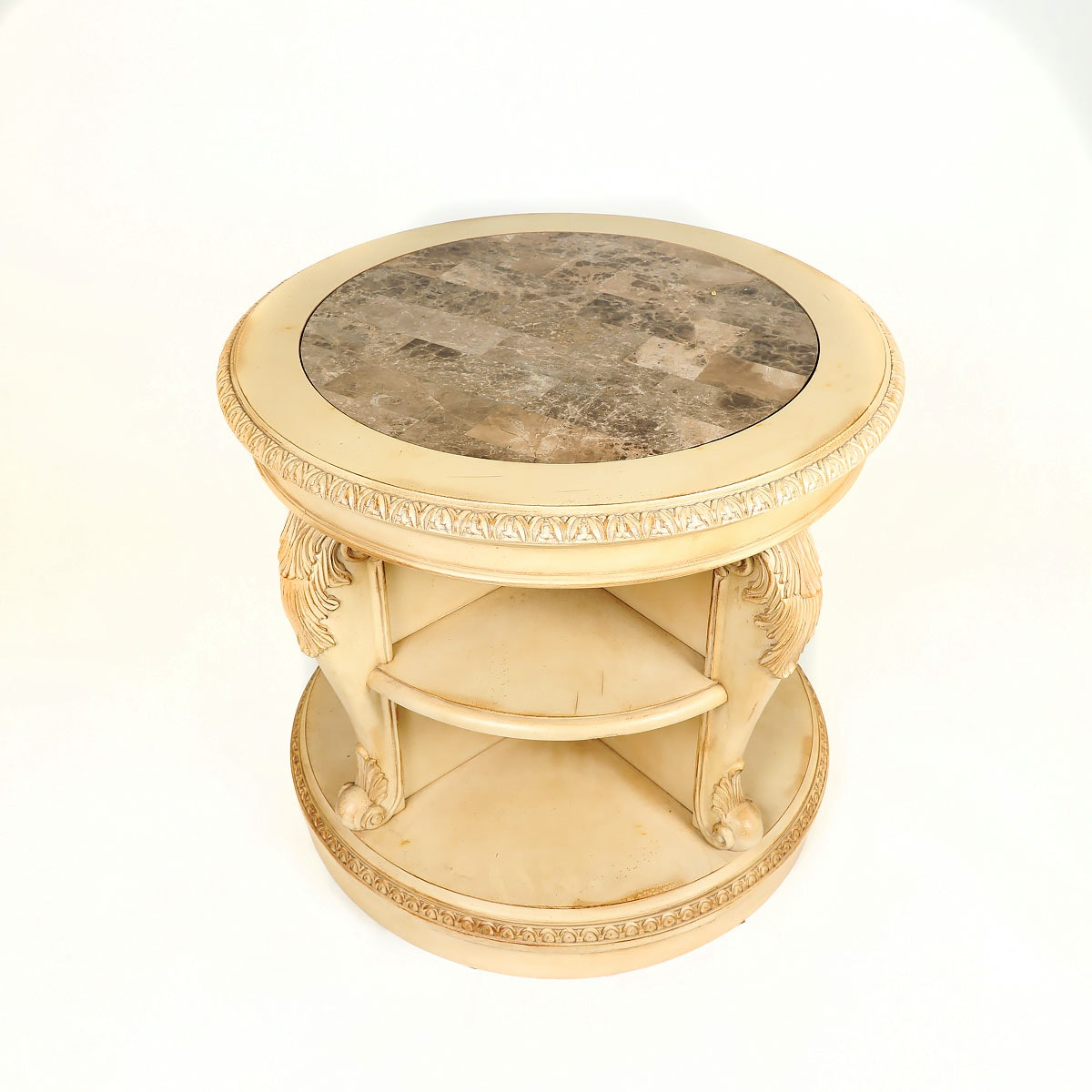 Reproduction Swivel End Table With Marble Top ...