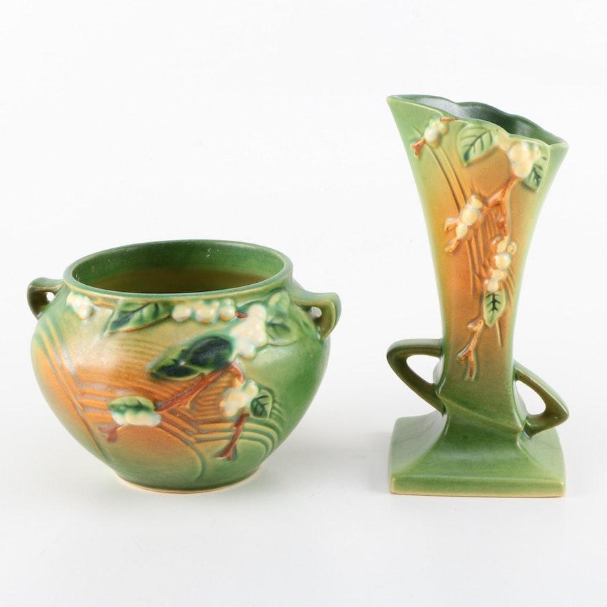 Roseville Snowberry Fern Green Vase And Jardiniere Ebth