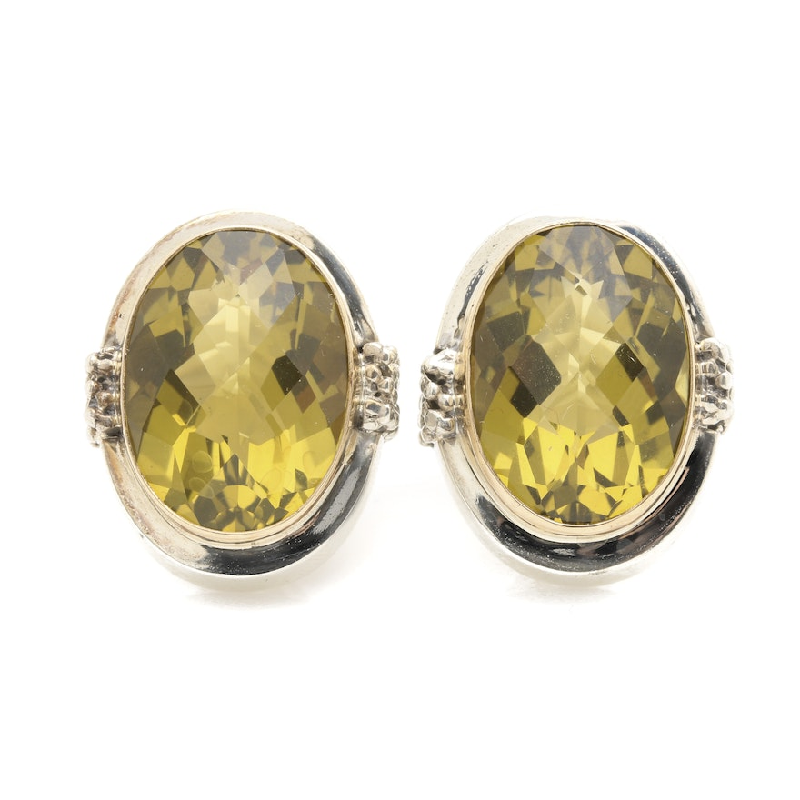 sterling chatelaine david earrings bezel lemon diamond yurman citrine silver