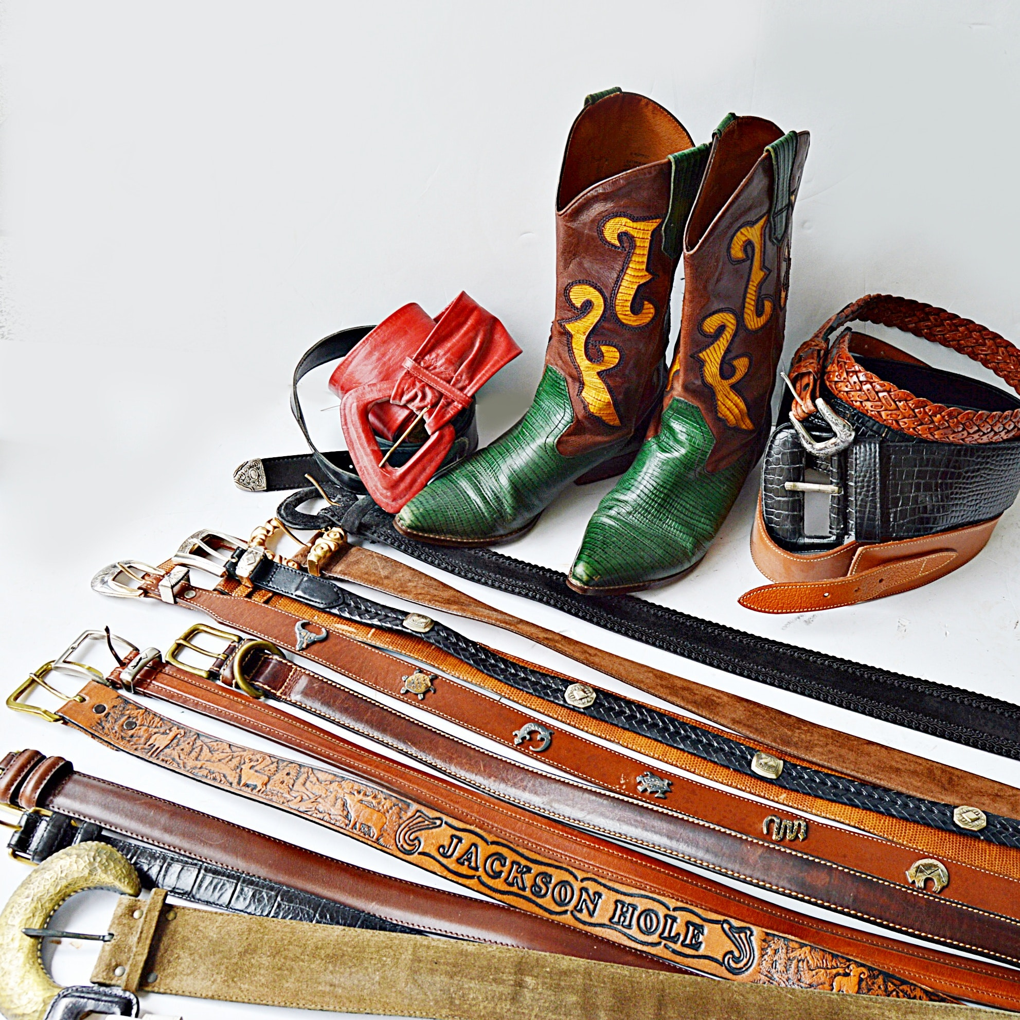 Leather Cowboy Boots and Leather Belt Collection with Brighton