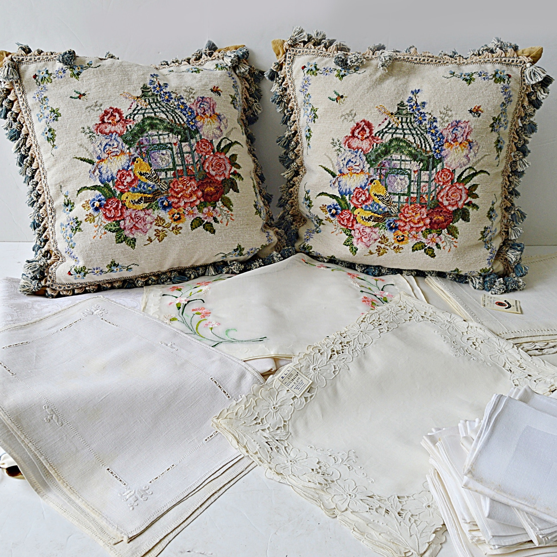 Vintage Table Linens and Pair of Needlepoint Pillows