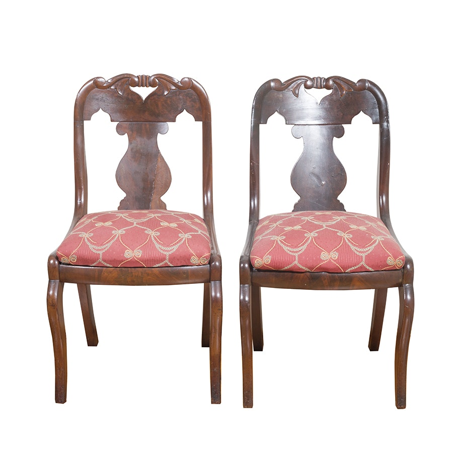 Antique American Empire Mahogany Side Chairs