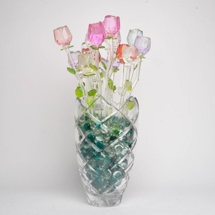 Mikasa Vase With Glass Flowers Ebth