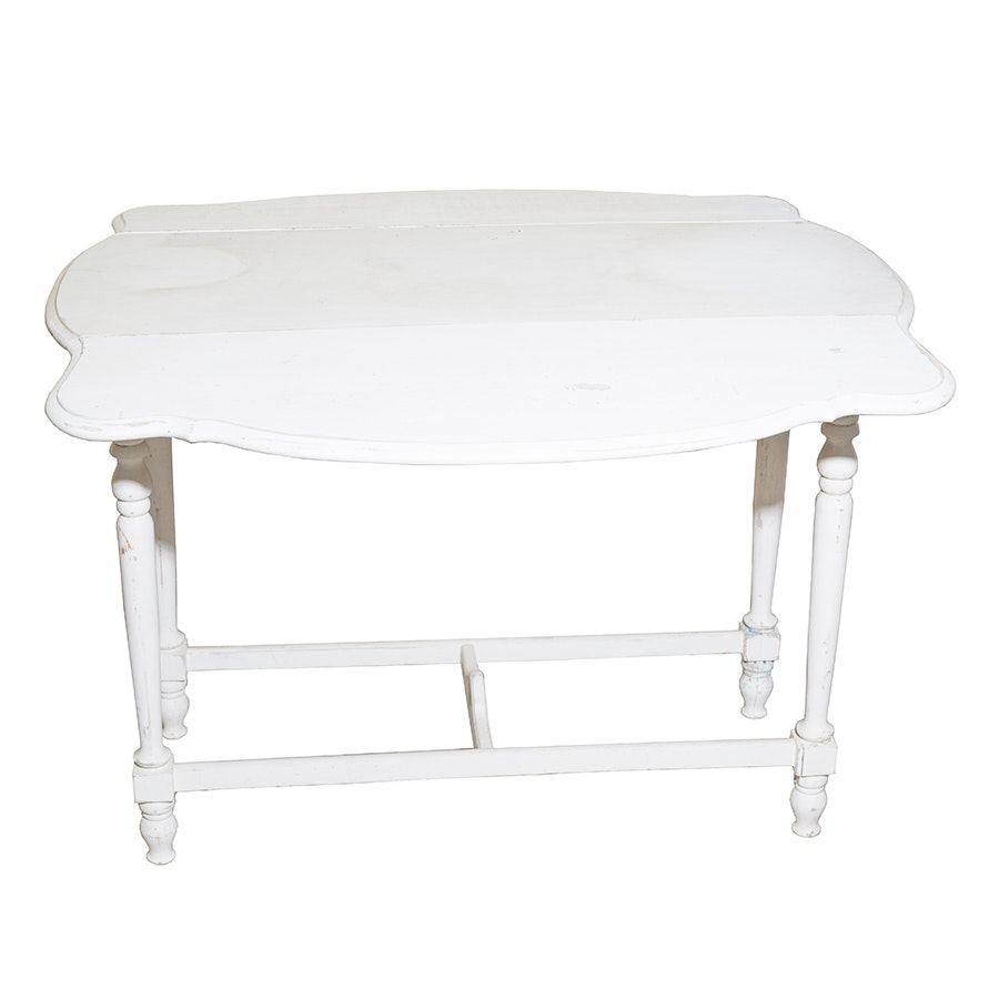 Vintage Double Leaf White End Table