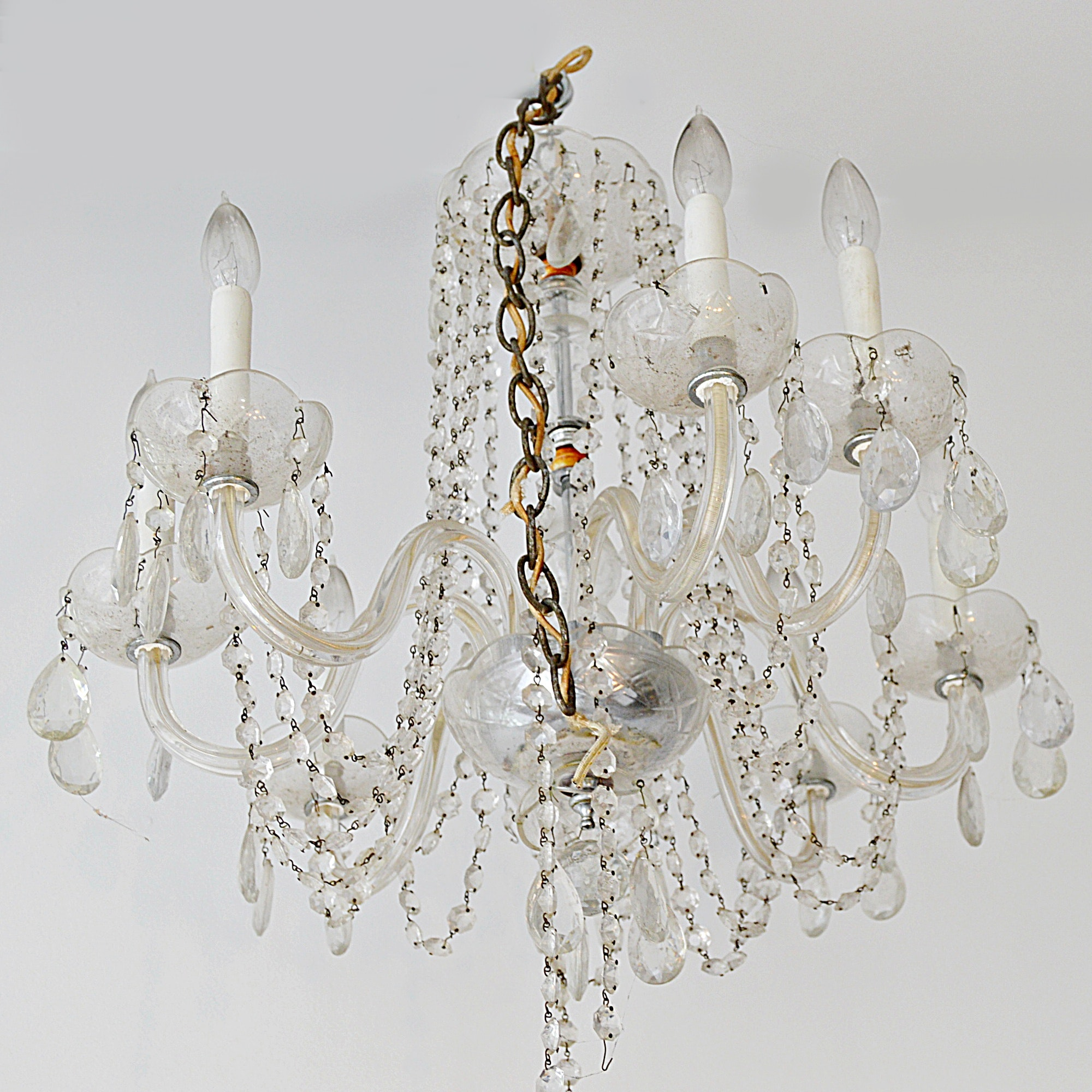 Vintage 12-Light Crystal Beaded Chandelier