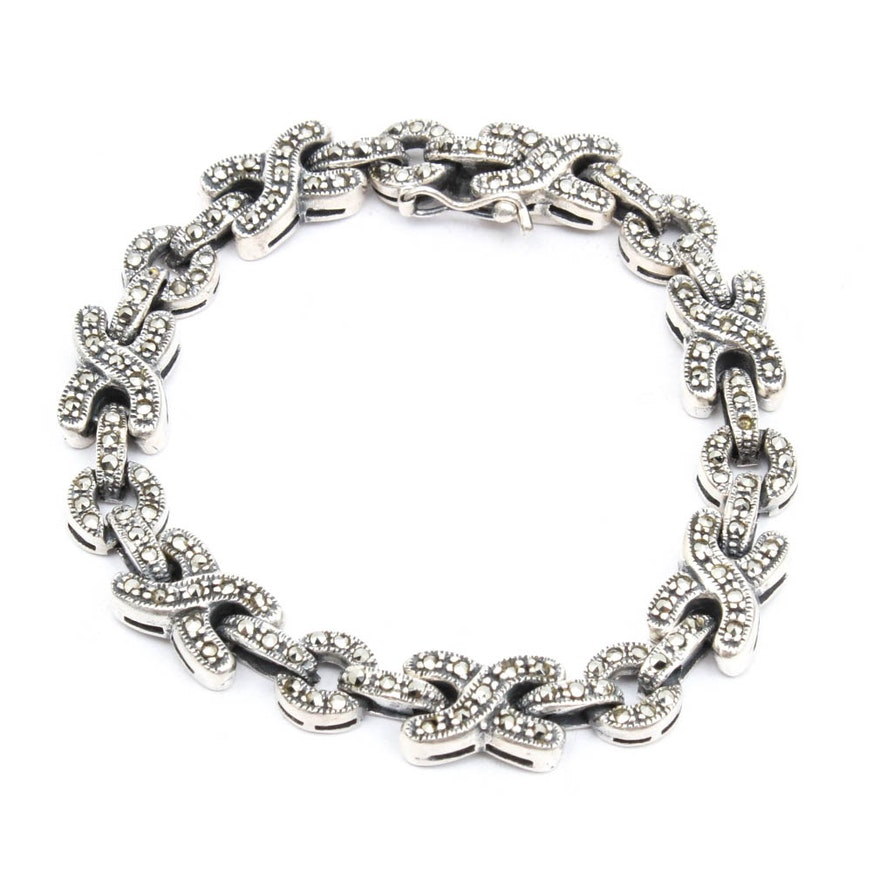 Sterling Silver Marcasite Xoxo Bracelet