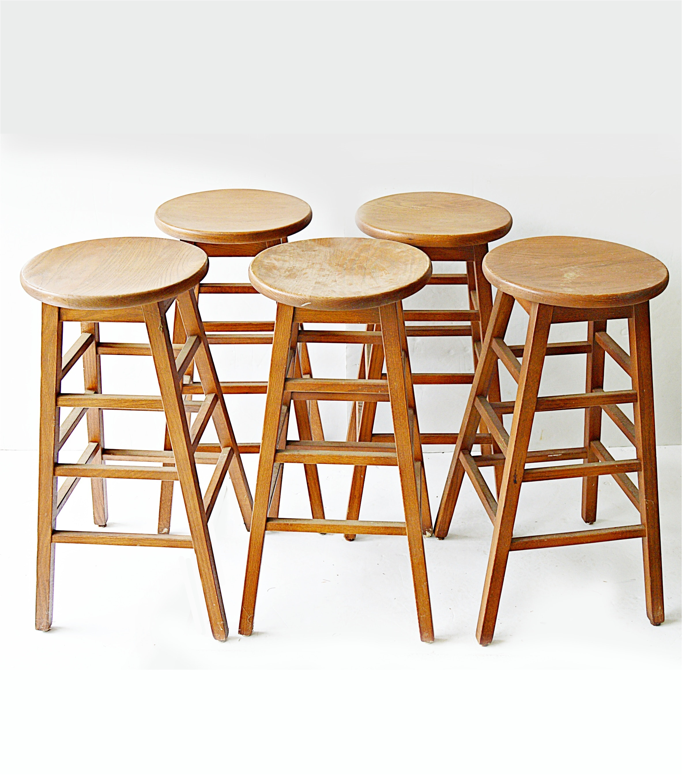 Five Wooden Bar Stools