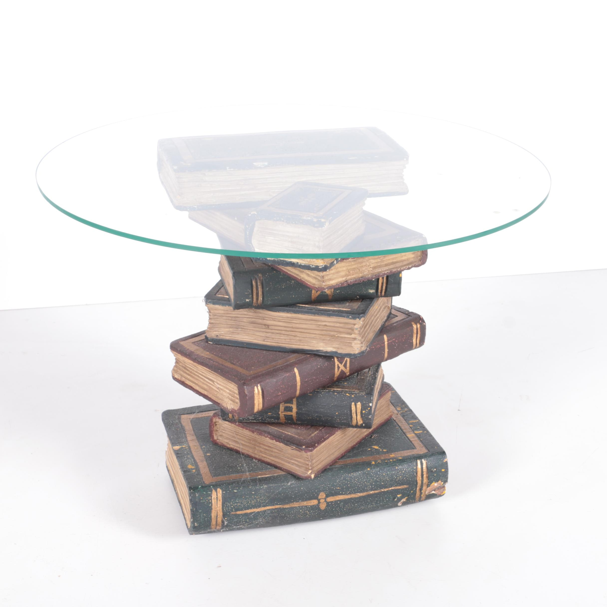 Glass Top Book Stack Accent Table ...