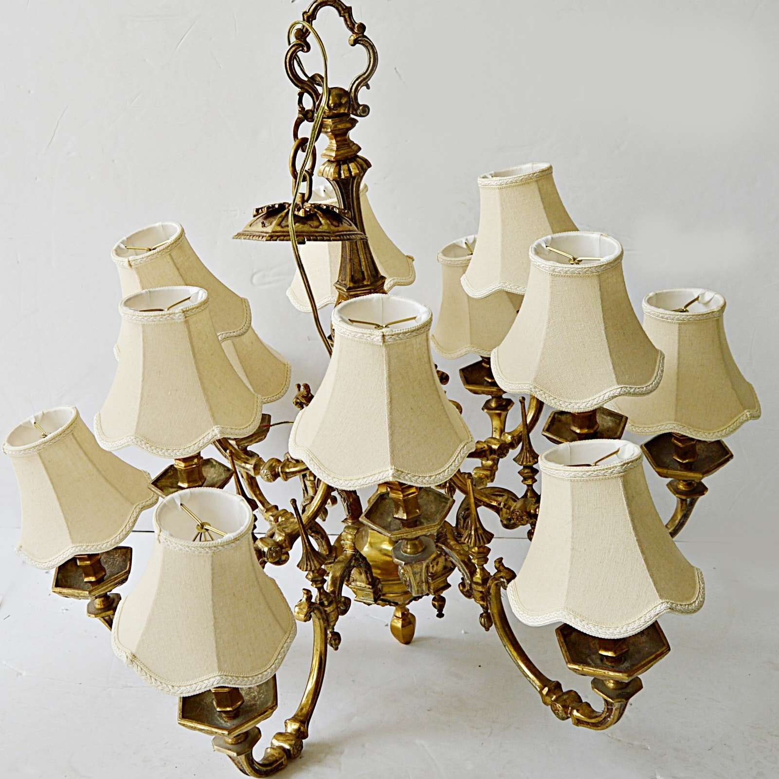 Vintage Twelve-Light Brass Chandelier