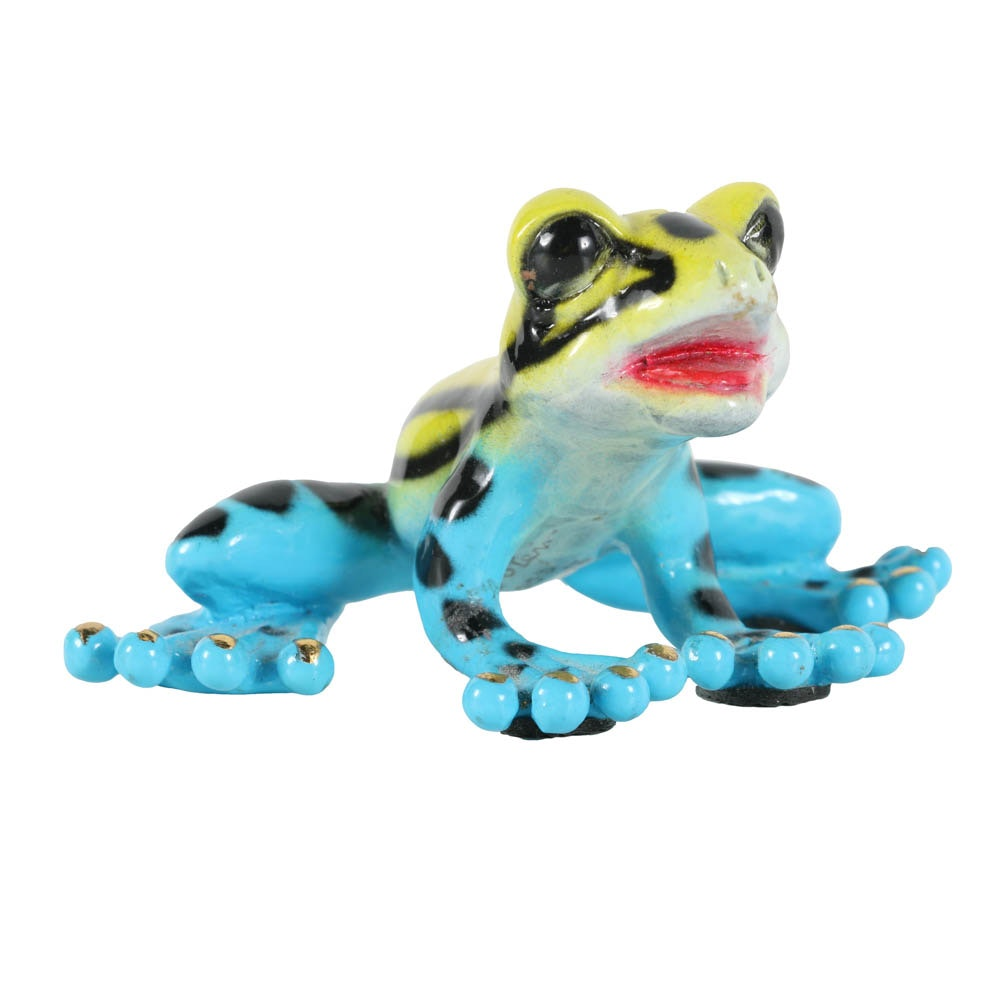 "Barry Stein Limited Edition Glass Sculpture ""Precious Frog Blue and Yellow"""