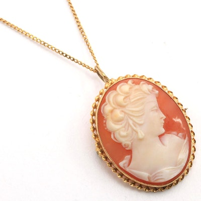 10K Yellow Gold Shell Cameo Pendant Brooch