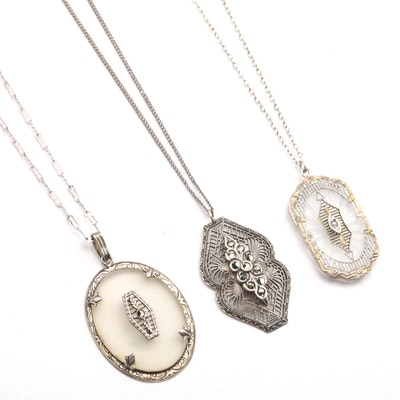 Three Sterling Silver Pendant Necklaces