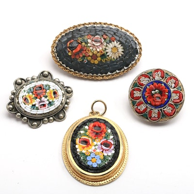Four Italian Glass Mosaic Jewelry Pieces
