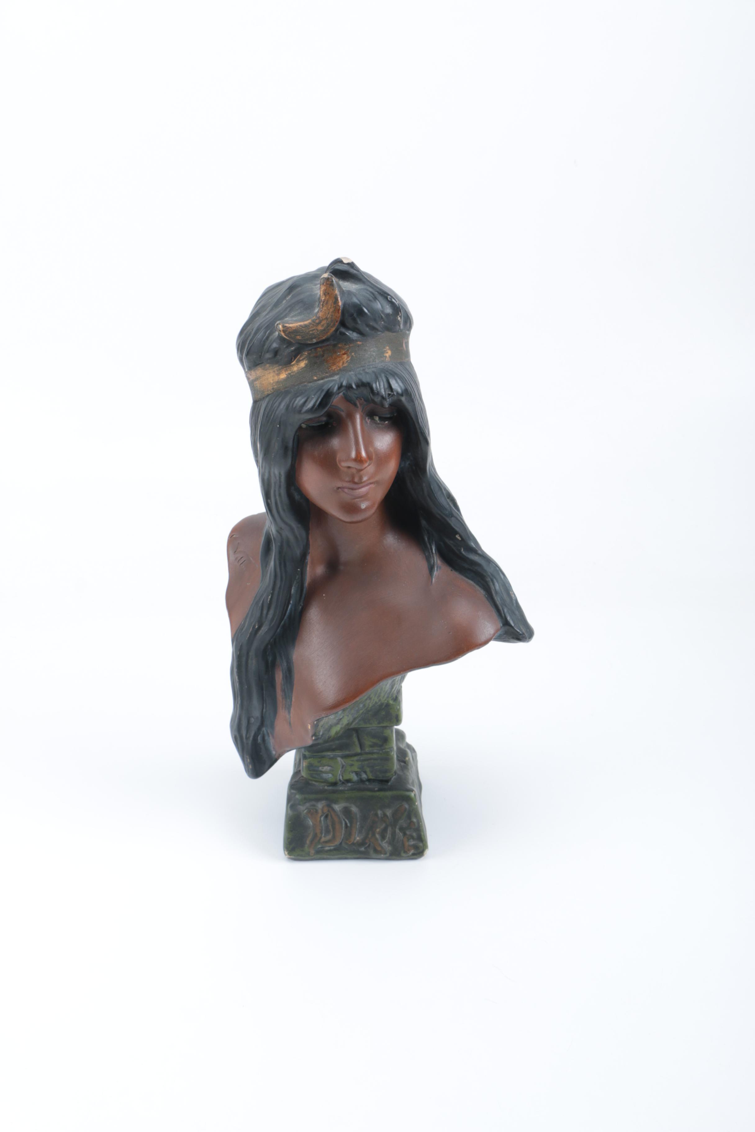 Bust Of Art Noveou Woman Attributed To Emmanuel Villanis