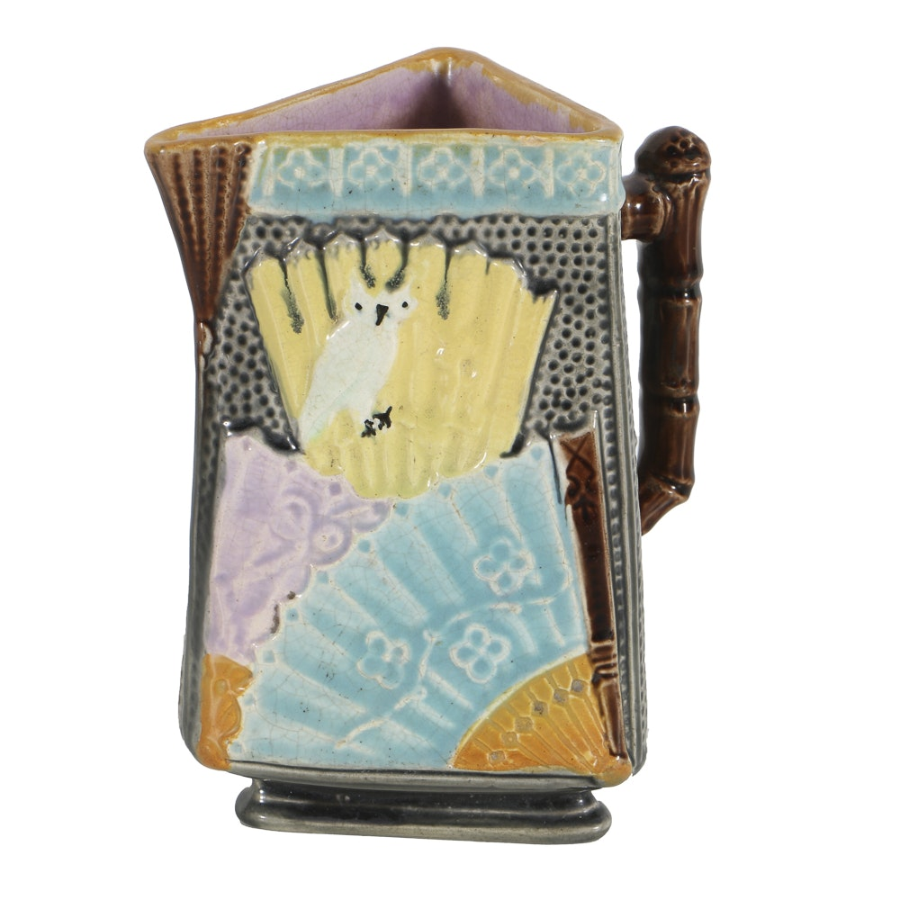 19th-Century Majolica Triangle Form Pitcher