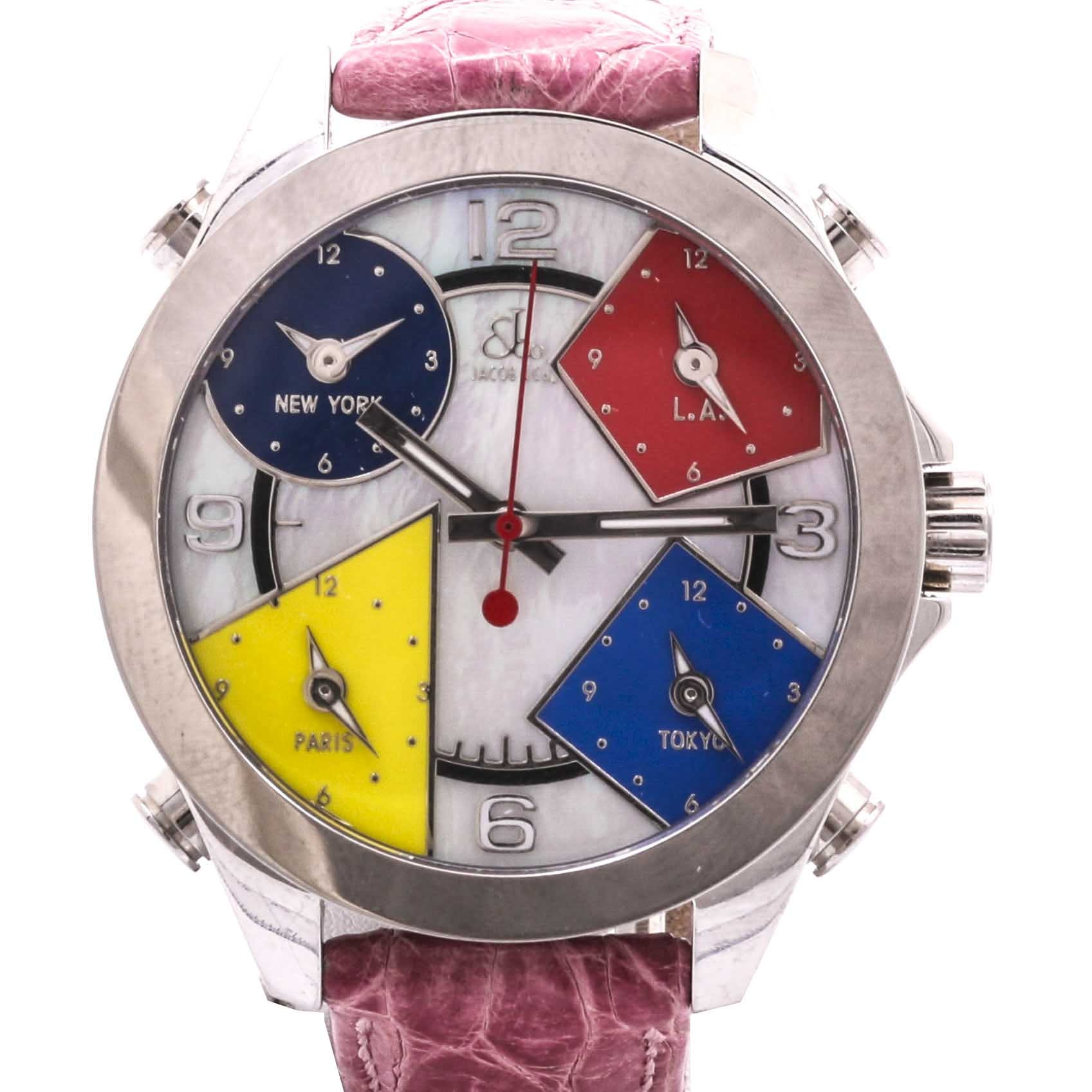 Jacob & Co. Mother Of Pearl Multiple Time Zones Wristwatch