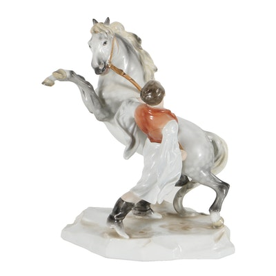 Herend Porcelain Figural Group of a Man and Horse