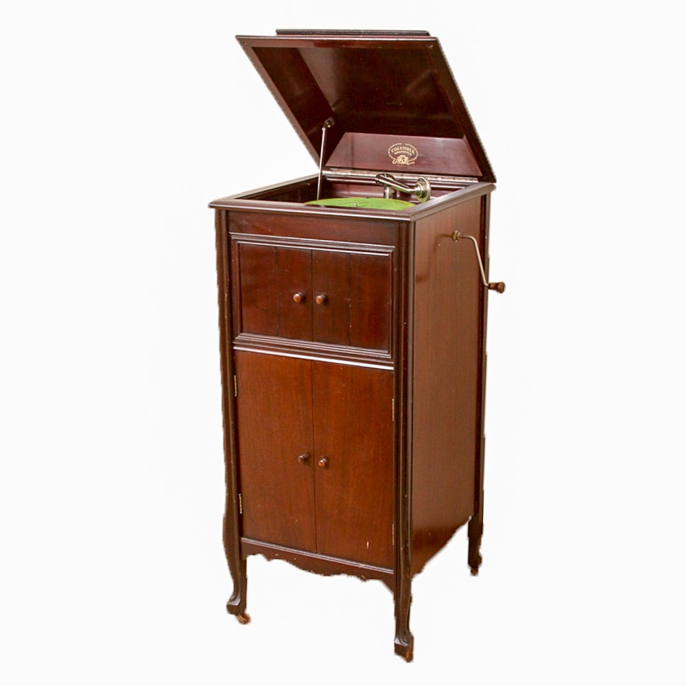 Vintage Columbia Grafonola Phonograph Cabinet And Vintage Records ...