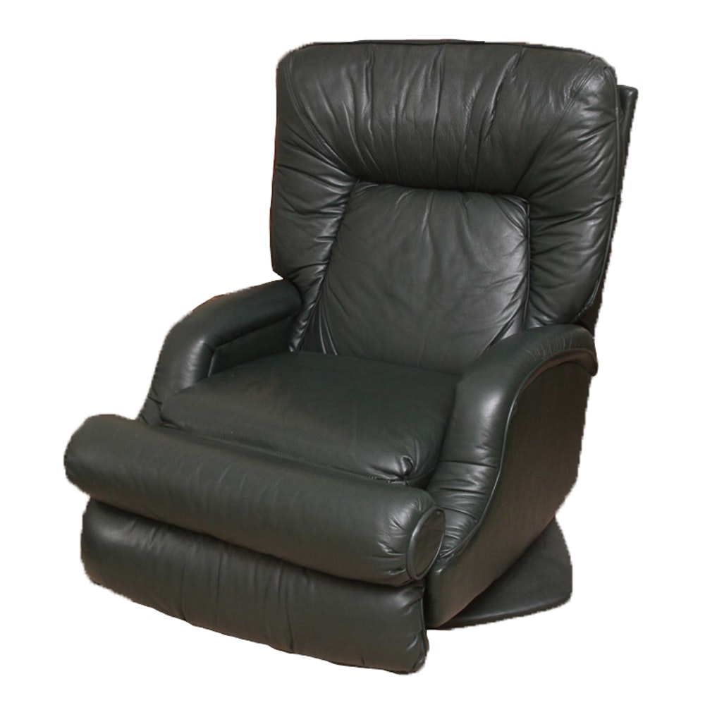 Barcalounger Green Leather Reclining Chair ...