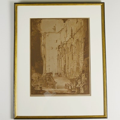 Richard F. Voell Etching of Palace of the Popes