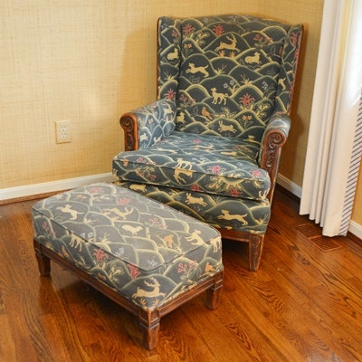 Vintage Wingback Chair and Ottoman