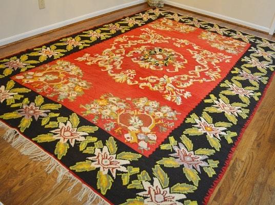 Handwoven Bessarabian Kilim Wool Floral Area Rug