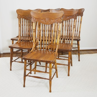 Six Vintage Carved Oak Dining Chairs