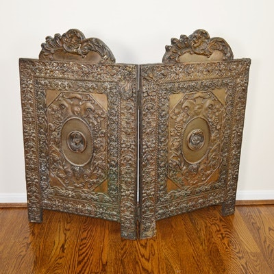 Victorian Bronze Relief Fireplace Screen