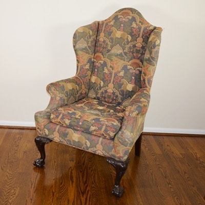 Vintage Chippendale Style Wing Back Chair