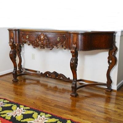 Batesville Cabinet Co. Baroque Italian Style Walnut Buffet, Circa 1930