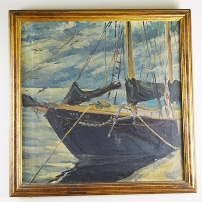 Janzan Original Oil Painting of Sea King Sailboat ***