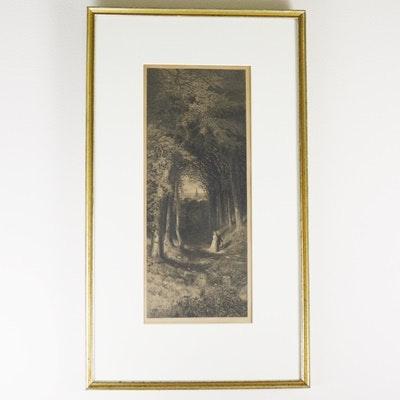 """William Wellstood Engraving """"A Shady Path"""""""