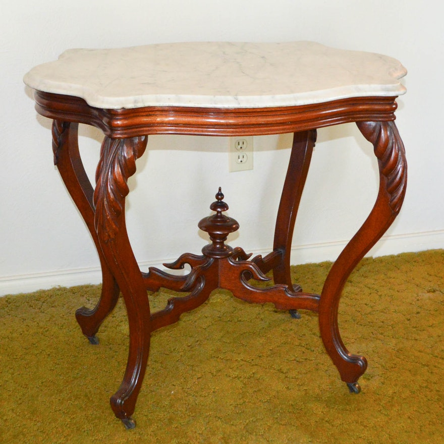 Antique Victorian Rococo Revival Parlor Table With Marble