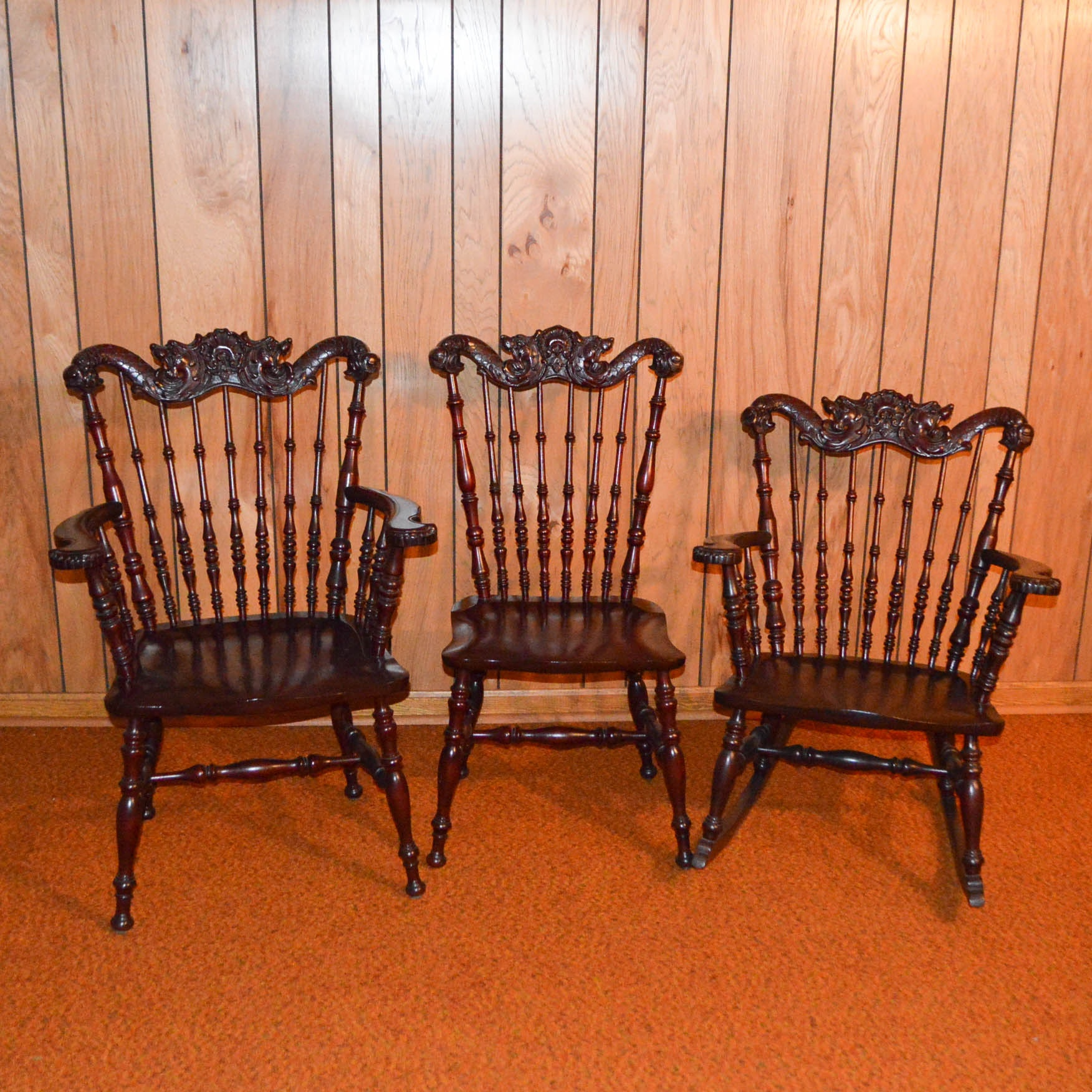 Colonial Revival Era Ornate Chairs And Rocker ...