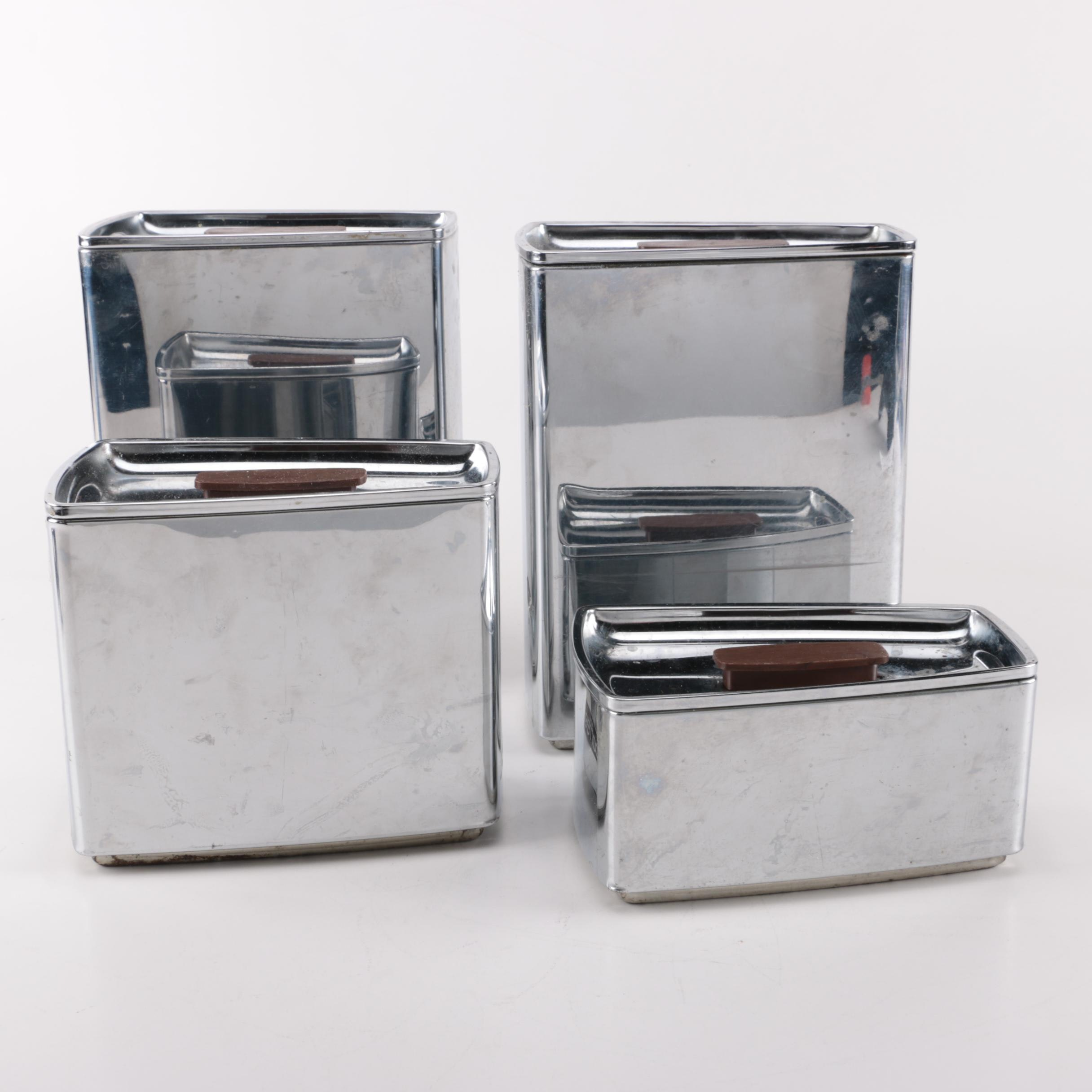 1950s Art Deco Lincoln BeautyWare Metal Canister Set