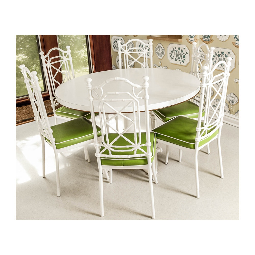 Vintage Kessler Industries White Bamboo Style Table and Chairs