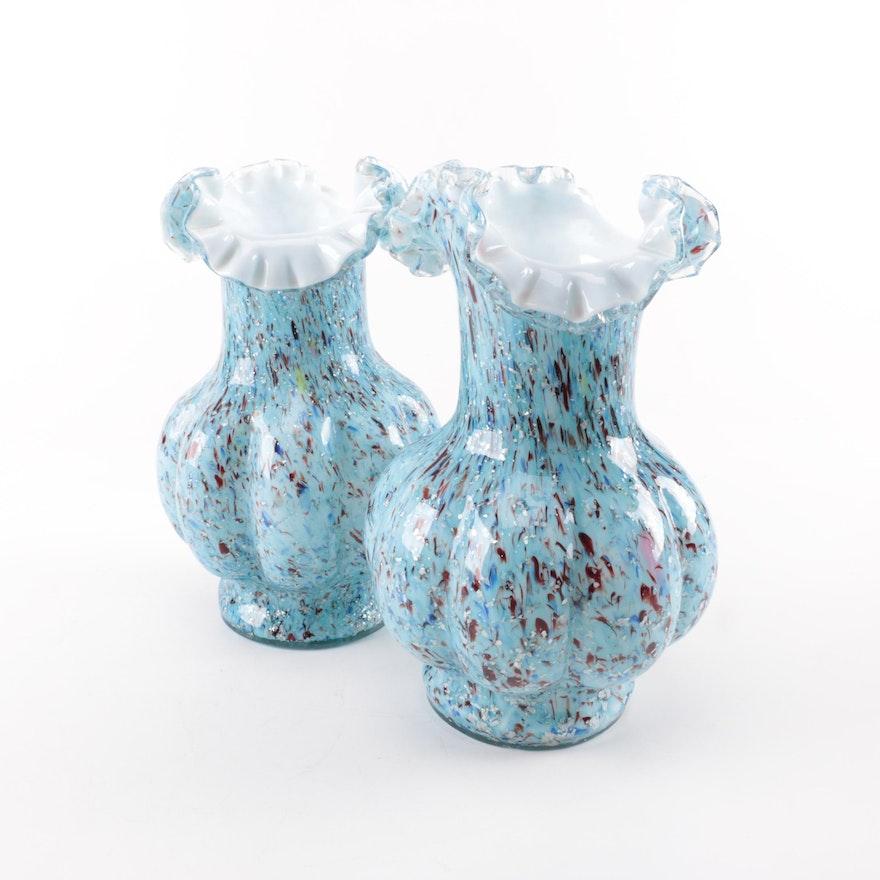 Handblown Light Blue Speckled Art Glass Vases Ebth