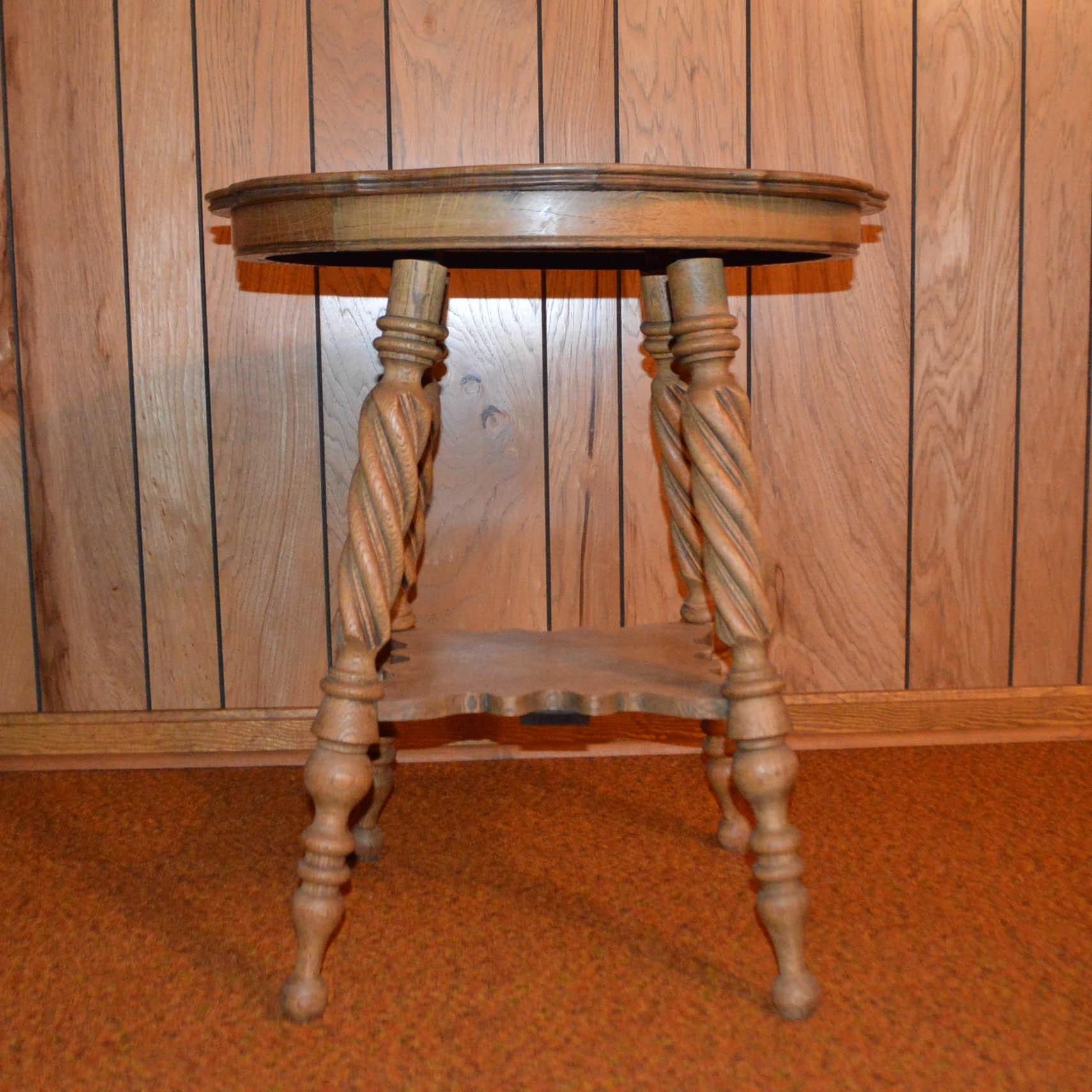 Antique Victorian Oak Lamp Table