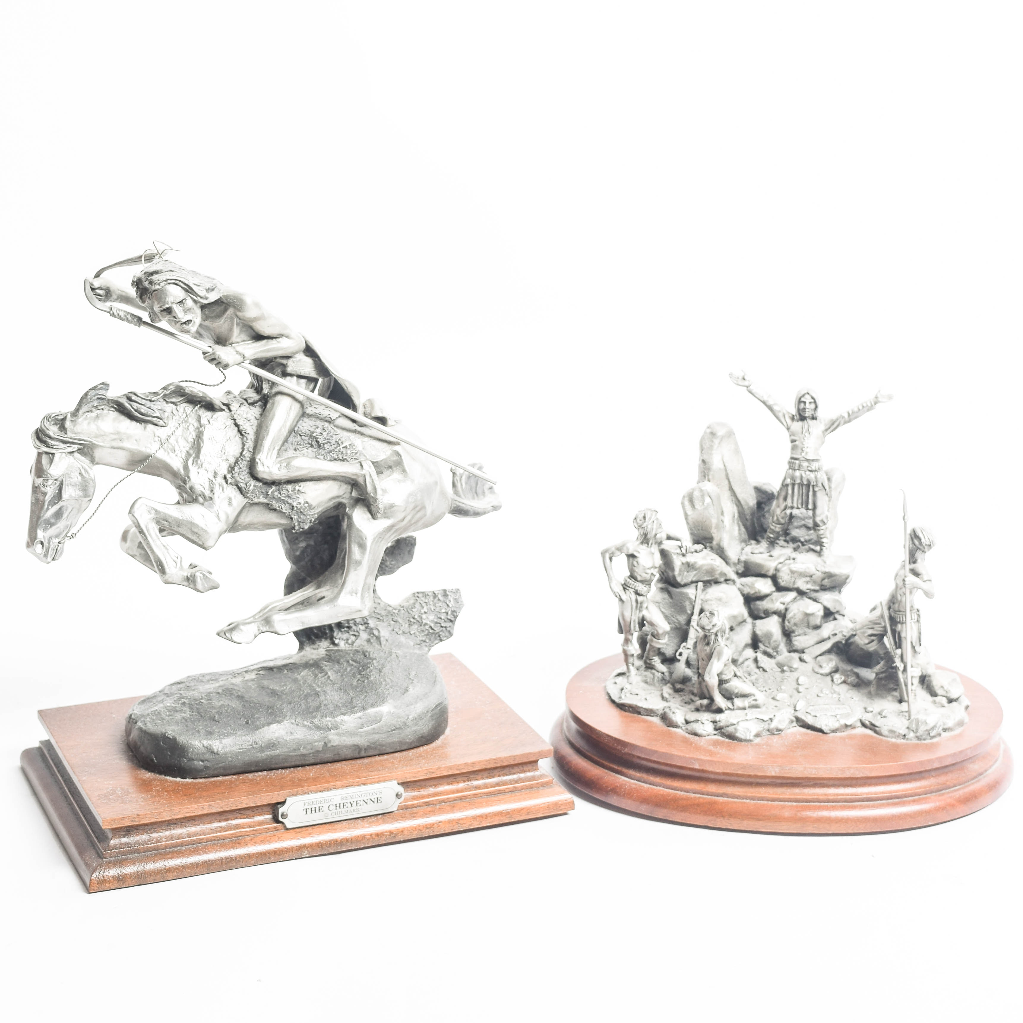 Pair of Limited Edition Polland and Remington Reproduction Pewter Sculptures