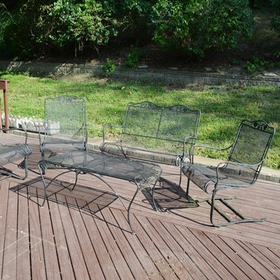 Black Metal Mesh Patio Set With Settee
