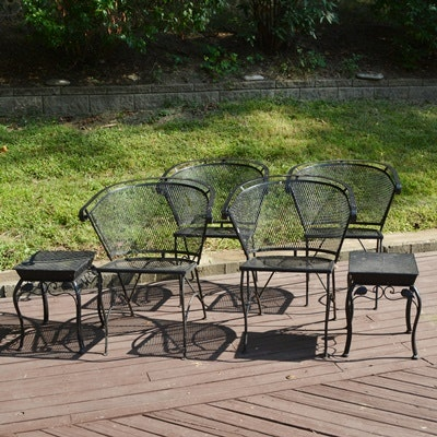 Black Metal Patio Chairs and Side Tables