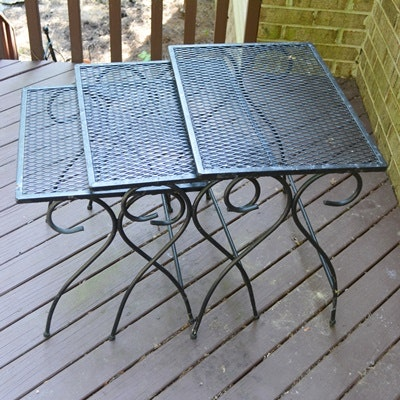 Black Patio Nesting Tables By Salterini ...