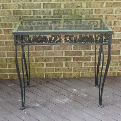 Patio Glass and Iron Accent Table
