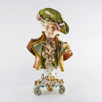 Vintage Teplitz-Turn Style Male Porcelain Bust