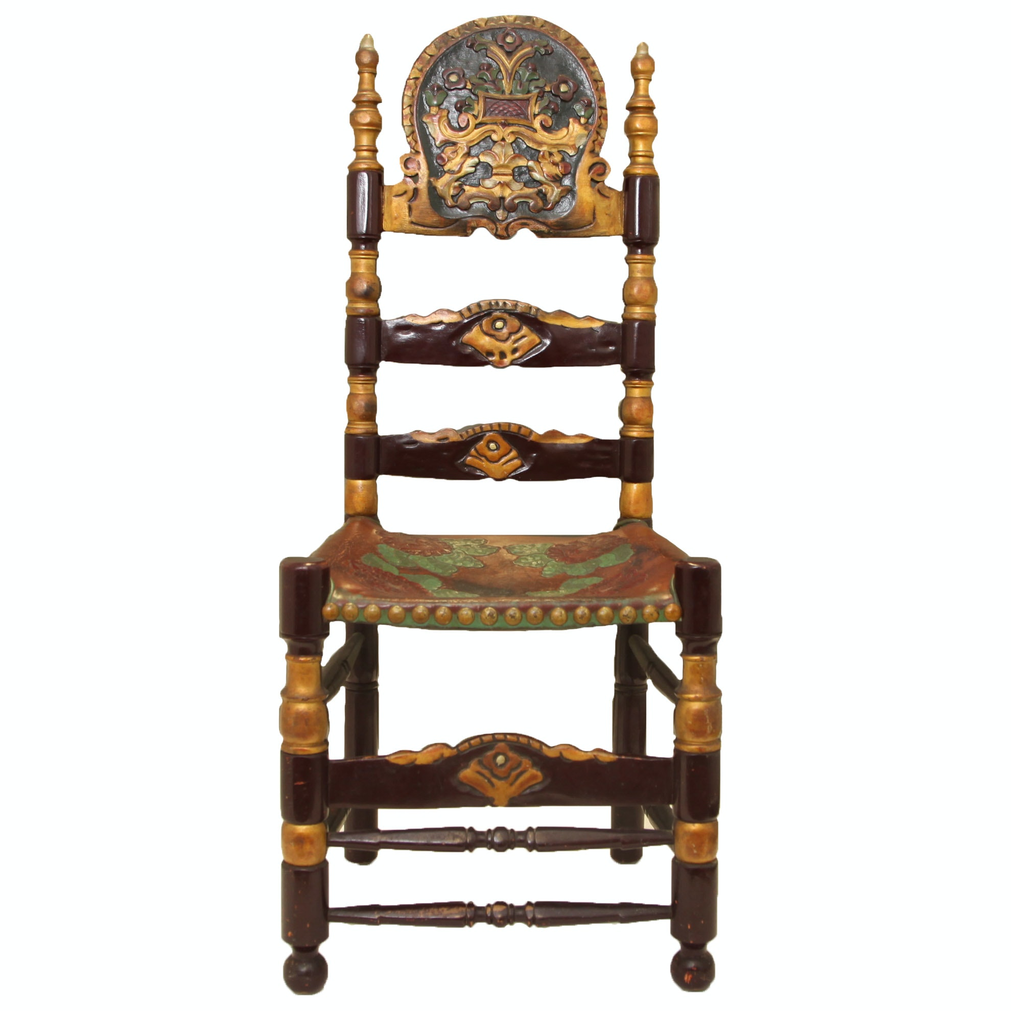 Vintage Spanish Colonial Style Ladderback Chair